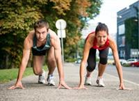Man and woman racing for a marathon