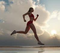 Woman running fast on the beach